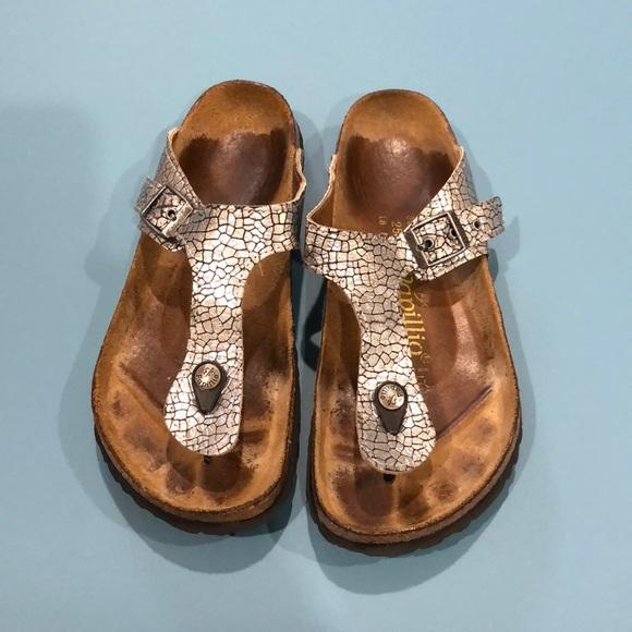 3b8d7318c5fa Birkenstock Shoes - Papillio by Birkenstocks silver snake skin sandals